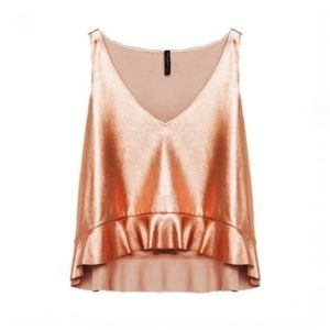 Zara Rose Gold Frill Hem Blush Tank Top Medium